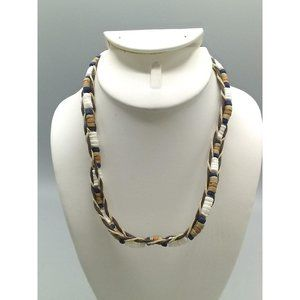 Waxed Cord and Heishi Bead Choker, Unisex Necklace